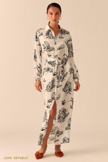 Белое платье-рубашка макси из летящей ткани с принтом 0357029538
