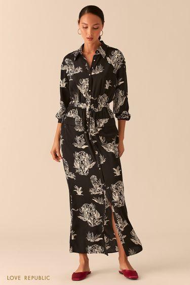 Черное платье-рубашка макси из летящей ткани с принтом 0357029538