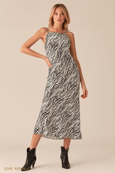 Платье-комбинация из ткани с атласным блеском 0357045510