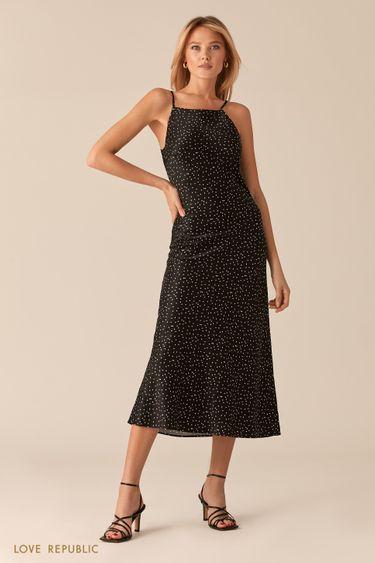 Черное атласное платье-комбинация с принтом 0357045510