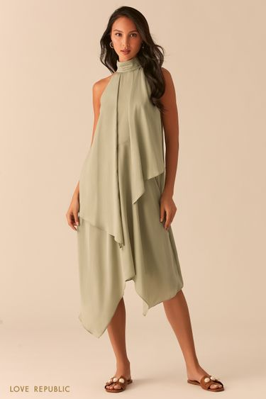 Зеленое асимметричное платье с американской проймой 0357048574