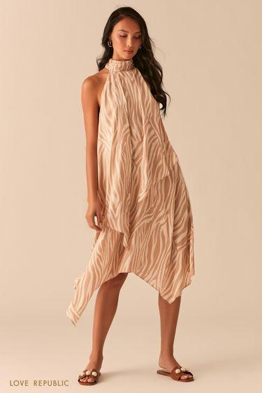 Асимметричное платье с американской проймой 0357048574