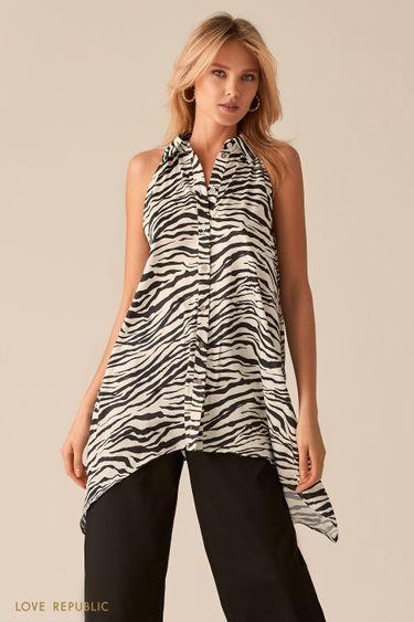 Удлиненная блузка с анималистичным принтом 0357049359