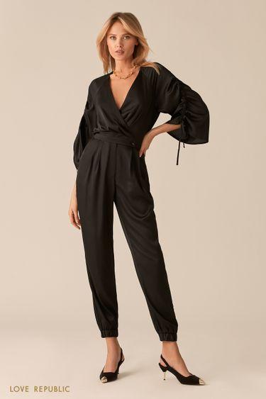 Атласный черный комбинезон в стиле кимоно 0357052730