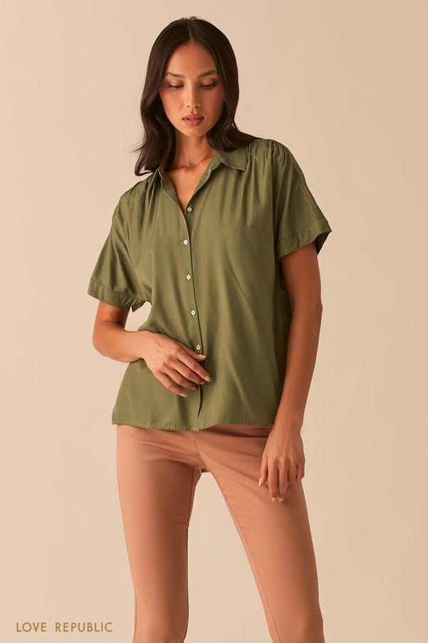 Свободная рубашка со сборками на плечах песочного цвета 0357002312-63