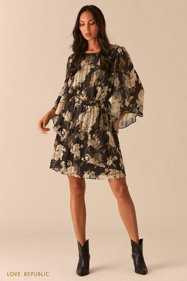 Платье с воздушными рукавами-воланами и плиссировкой 0357014531-65
