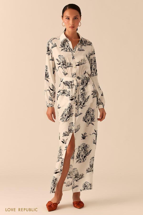 Белое платье-рубашка макси из летящей ткани с принтом 0357029538-5