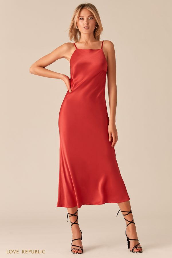 Черное атласное платье-комбинация с принтом 0357045510-54