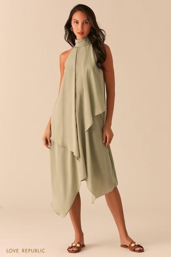 Асимметричное платье с американской проймой 0357048574-65