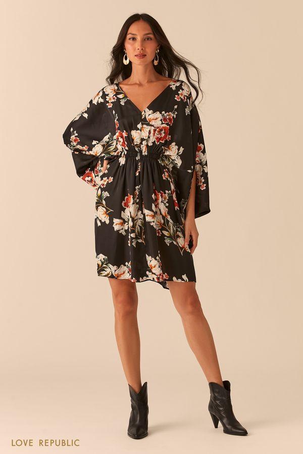 Черное платье-кимоно с флористичным принтом 0357073580-54