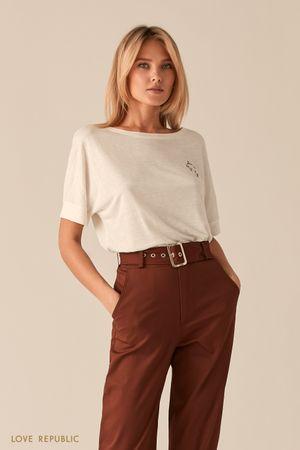 Трикотажная белая oversize футболка