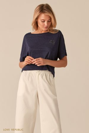 Трикотажная темно-синяя oversize футболка