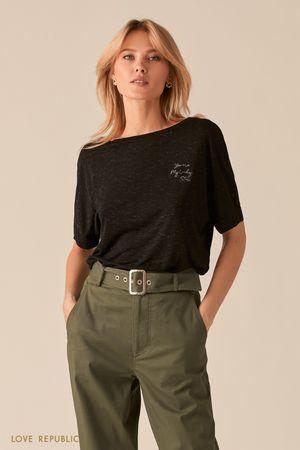 Трикотажная черная oversize футболка