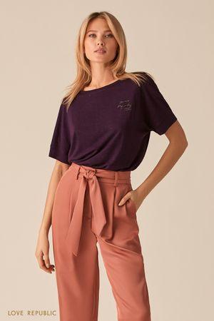 Трикотажная фиолетовая oversize футболка