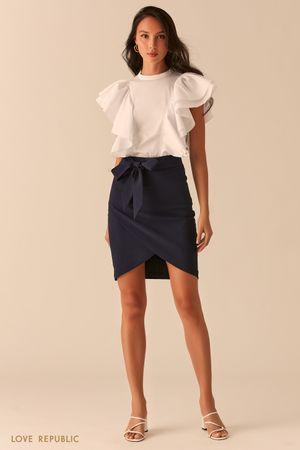 Темно-синяя базовая юбка на запах с разрезом