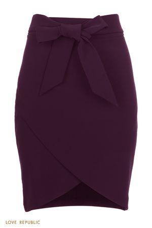 Сливовая базовая юбка на запах с разрезом