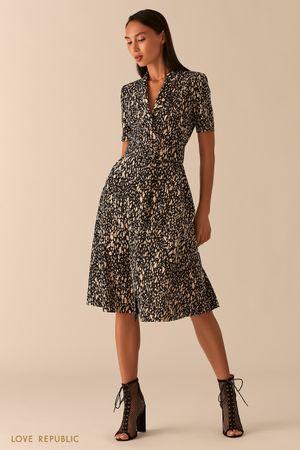 Платье миди с запахом и шалевым воротником фото