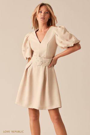 Платье с рукавами-фонариками и широким поясом фото