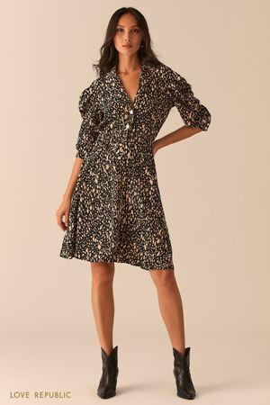 Приталенное платье с рукавами-фонариками фото
