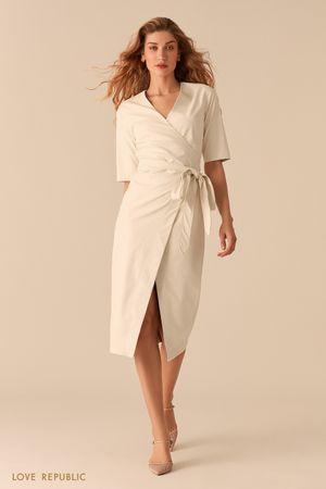 Белое платье на запах из экокожи Love Republic