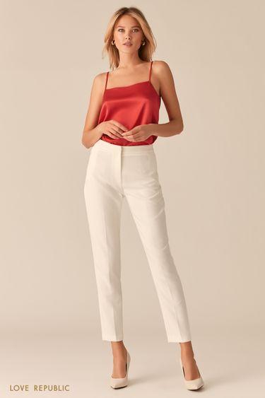 Базовые молочные брюки со стрелками 0357205702