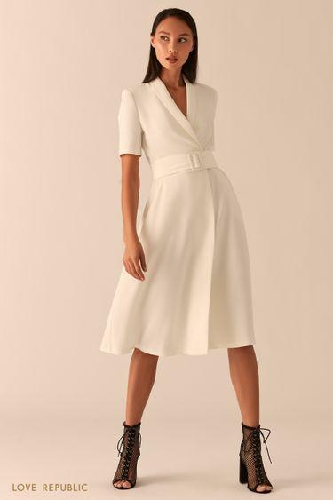 Белое платье миди с запахом и шалевым воротником 0357214504