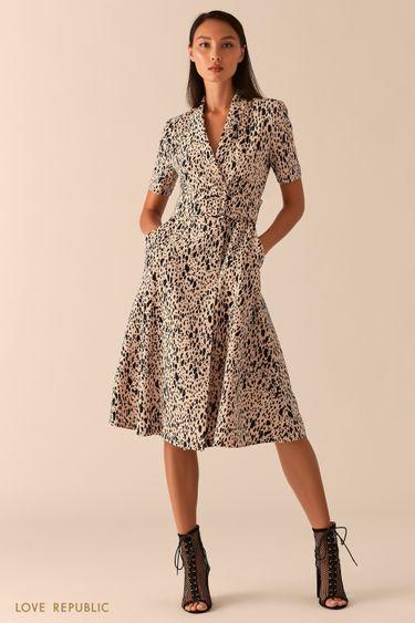 Платье миди с запахом и шалевым воротником 0357214504