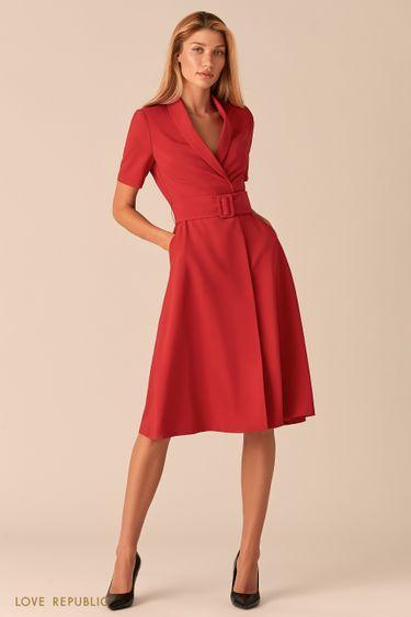 Красное платье миди с запахом и шалевым воротником 0357214504