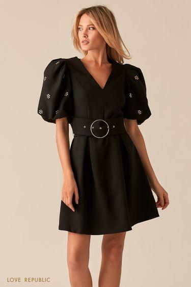Черное платье с рукавами-фонариками и широким поясом 0357217513