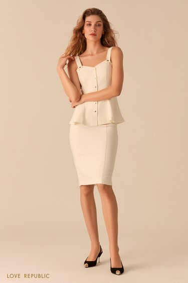 Лаконичная юбка-карандаш белого цвета 0357218208