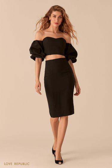 Лаконичная юбка-карандаш черного цвета 0357218208