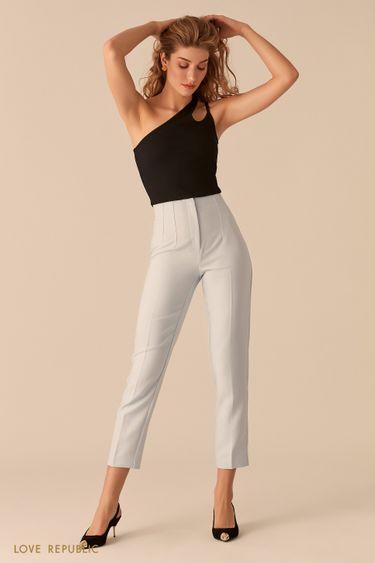 Голубые укороченные брюки со стрелками и фактурными швами 0357218718
