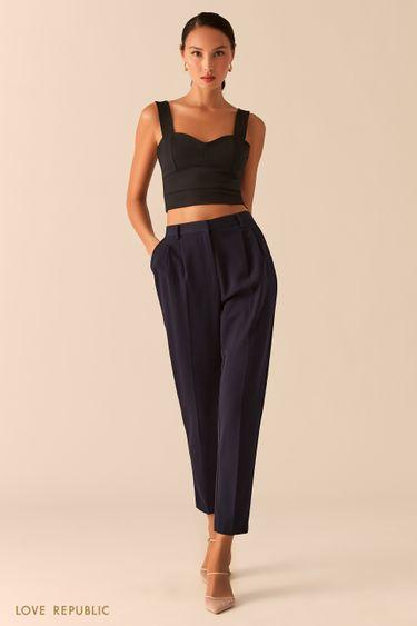 Темно-синие классические брюки с защипами на талии 0357221716