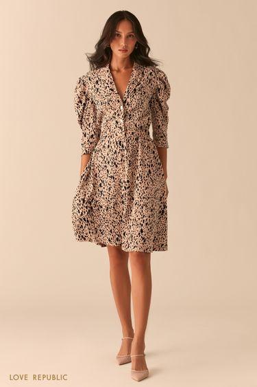 Приталенное платье с рукавами-фонариками 0357228559