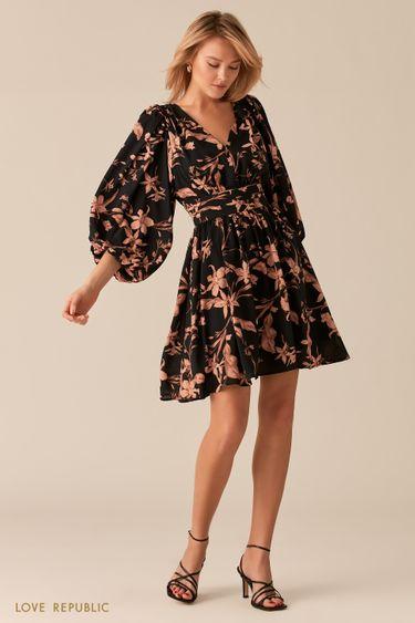 Летящее платье с акцентным поясом на талии черного цвета 0357232558