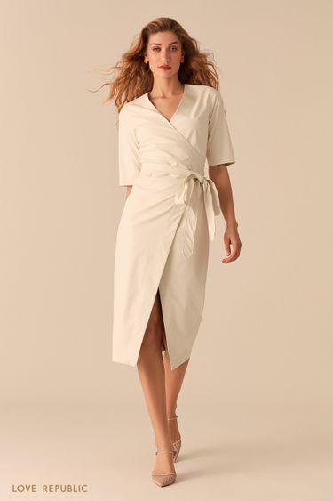Белое платье на запах из экокожи 0357237567