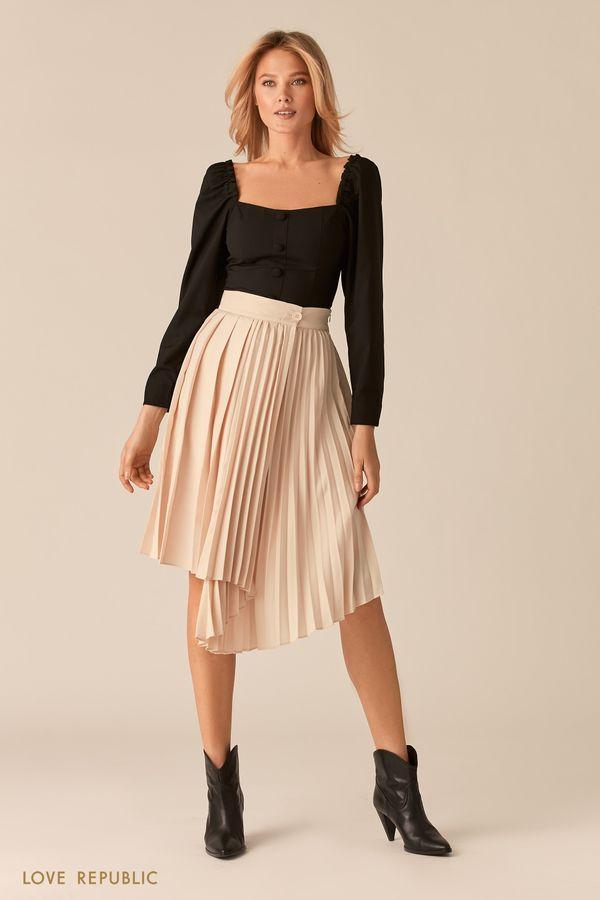 Черная плиссированная юбка с асимметрией 0357202201-50