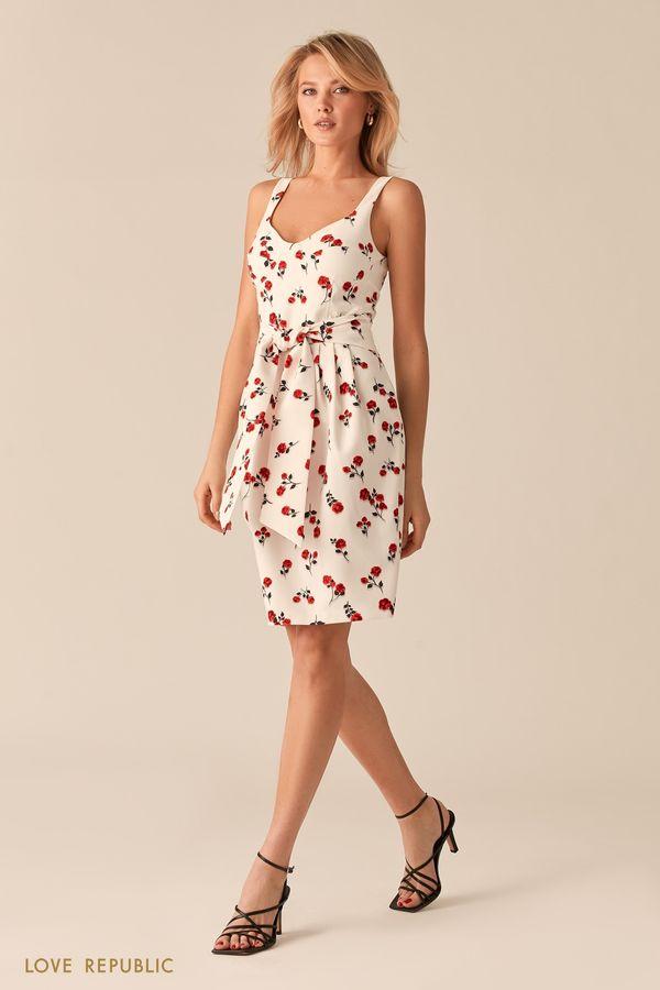 Белое платье-футляр с ярким цветочным принтом 0357205569-5