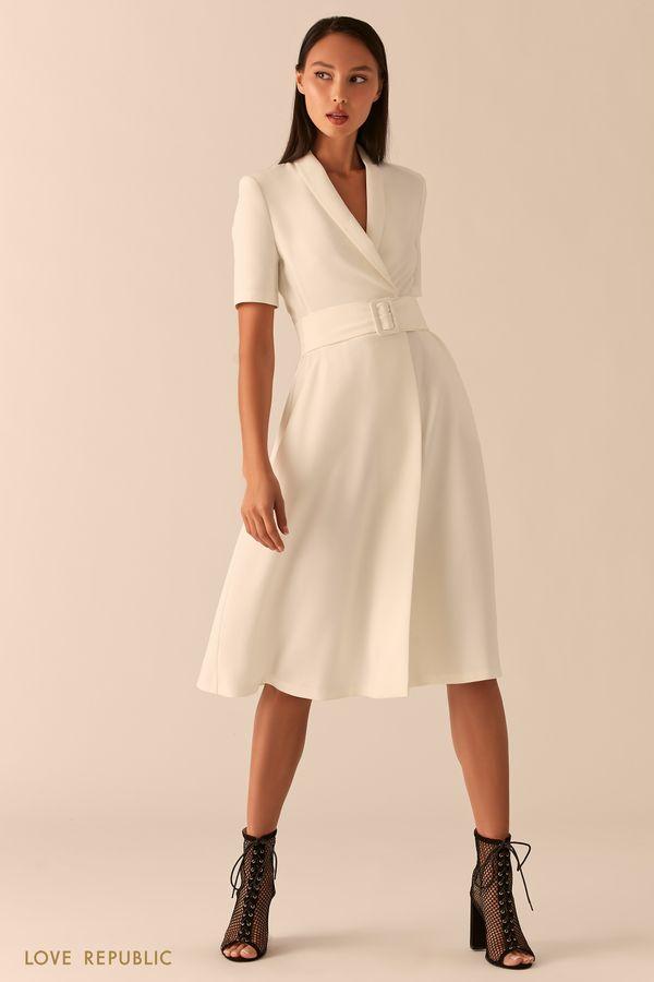 Платье миди с запахом и шалевым воротником 0357214504-54