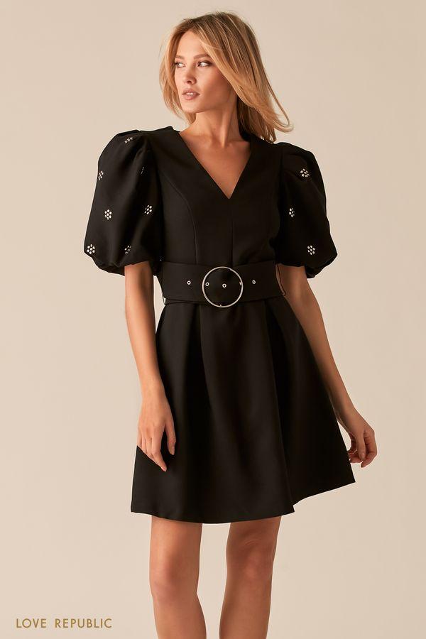 Черное платье с рукавами-фонариками и широким поясом 0357217513-50