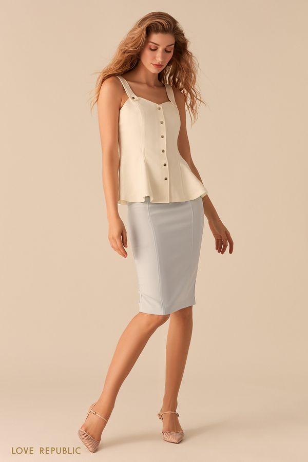 Лаконичная юбка-карандаш голубого цвета 0357218208-41