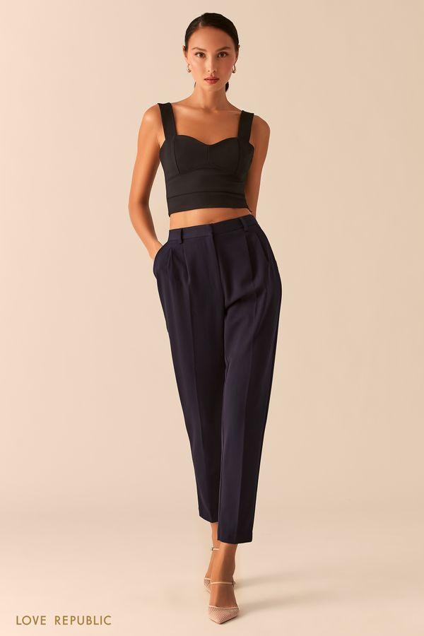 Темно-синие классические брюки с защипами на талии 0357221716-47