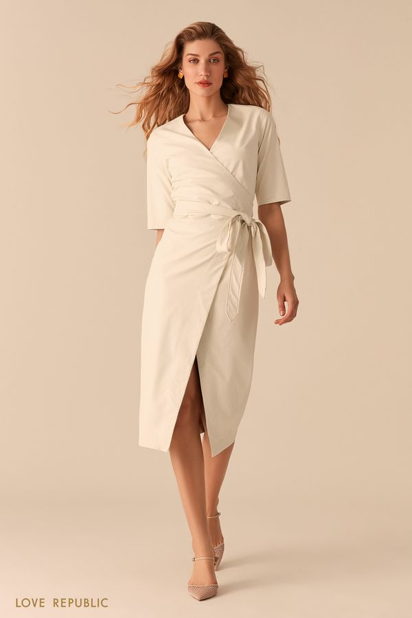 Белое платье на запах из экокожи 0357237567-1