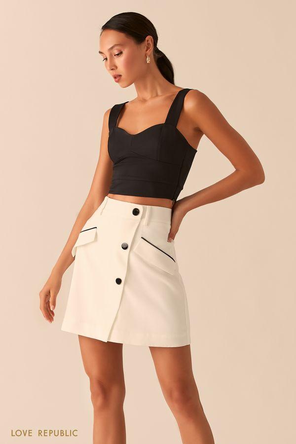 Белая юбка мини с контрастными деталями 0357244211-1