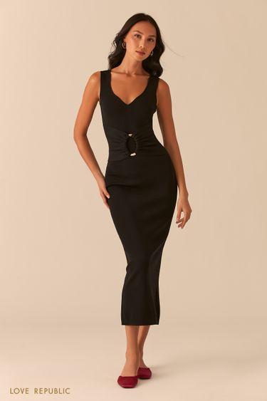 Черное трикотажное платье с разрезом сзади 0357303511