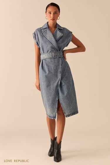 Джинсовое платье с запахом и лацканами 0357414516