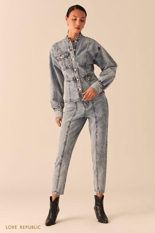 Приталенная джинсовая куртка с объемными рукавами 0357416116-100