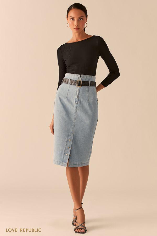 Джинсовая юбка миди с завышенной талией 0357427227-102