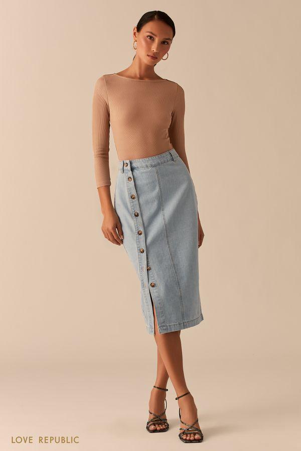 Джинсовая юбка-карандаш на пуговицах 0357430230-102