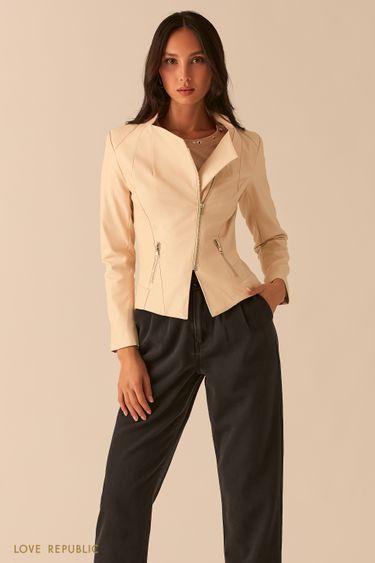 Приталенная куртка-косуха из экокожи 0357502105